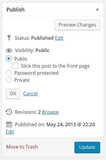 wordpress visibility