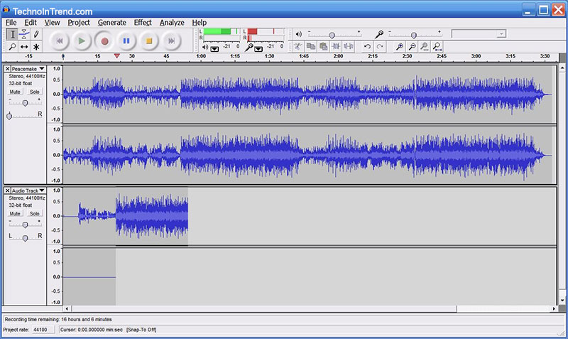 audacity sound editor screen