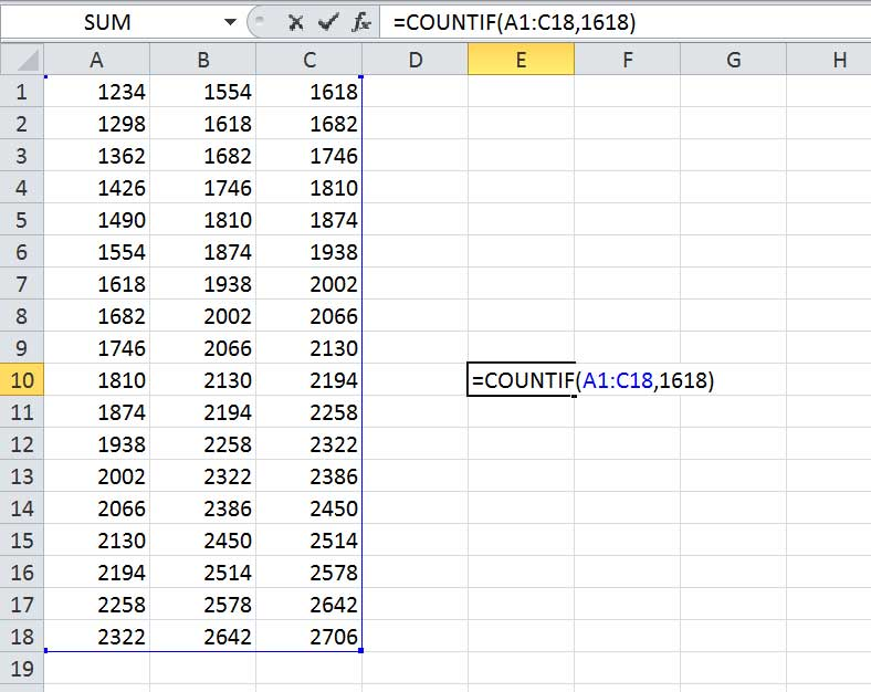 function excel countif