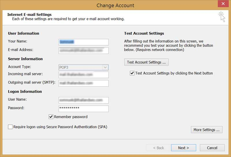 ms outlook change account