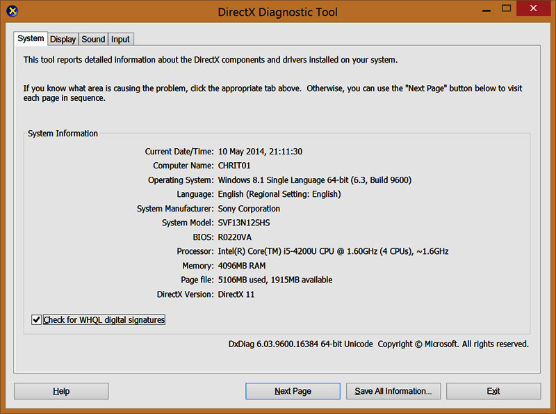 DirectX Diagnostic Tool