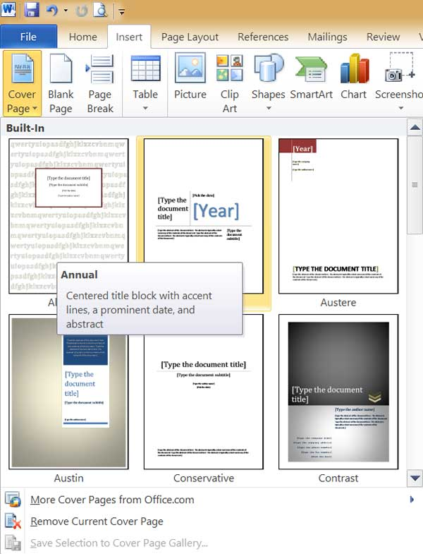 ms-word cover-page