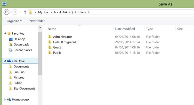 onedrive save-as