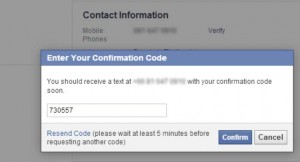 reset password facebook sms