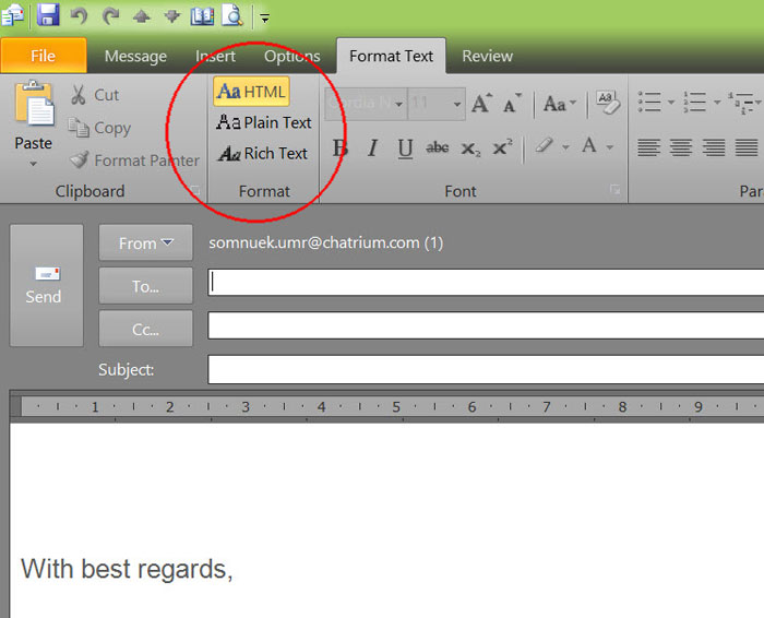 format text ms outlook
