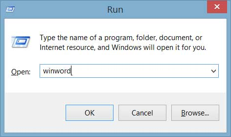 run command winword