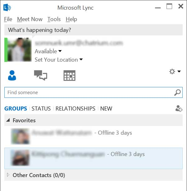 microsoft-lync main screen