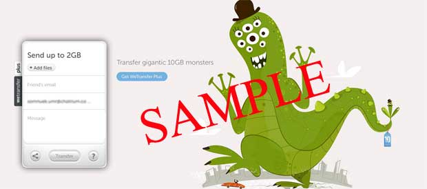 sample transfer big files screen