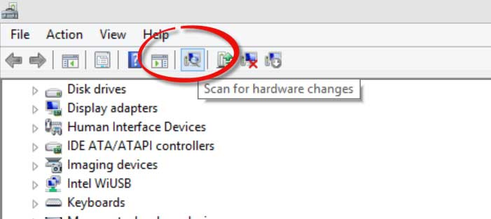scan for hardware changes command