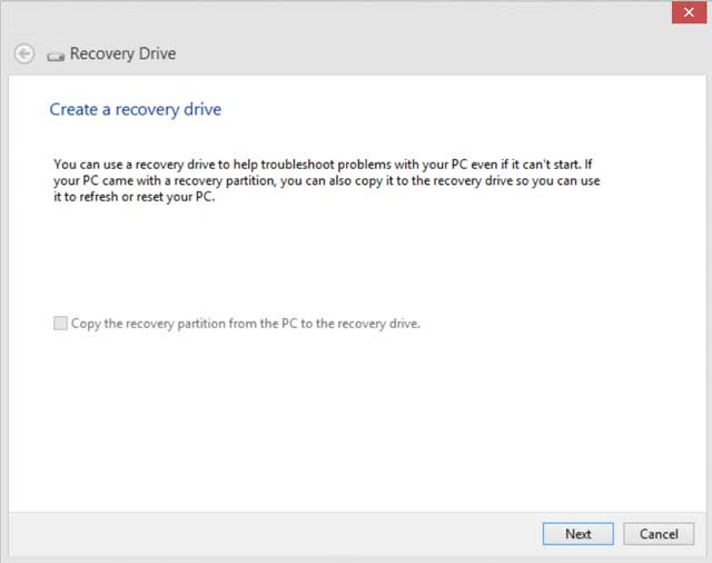 recovery drive screen