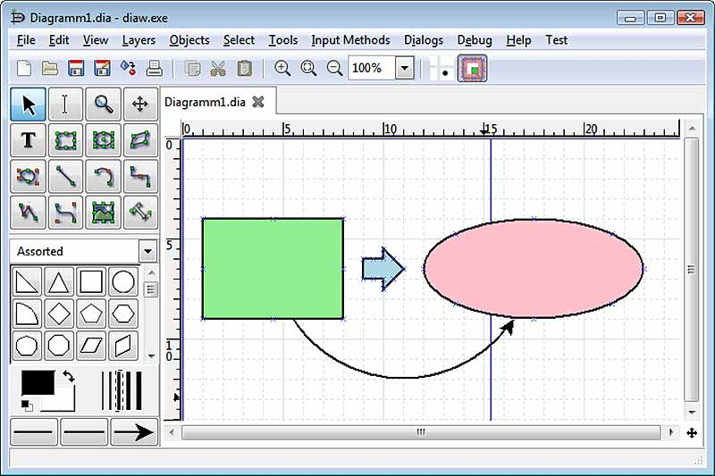 dia-diagram-editor screen