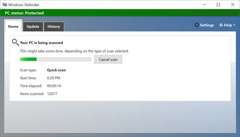 quick-scan windows defender