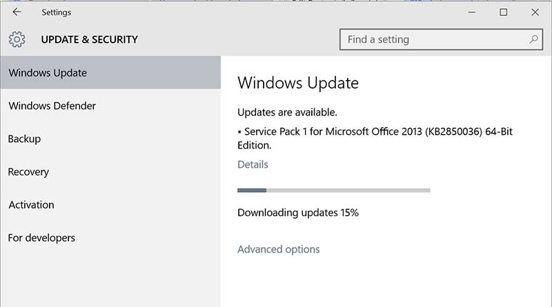 update & security windows10
