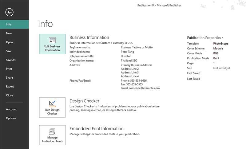 edit-business information page