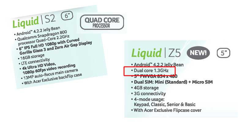 sample core CPU from ACER