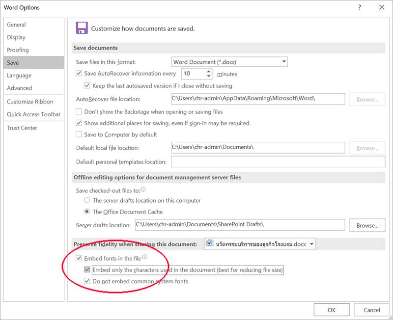 embed fonts ms word