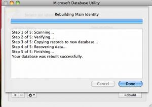 microsoft database utility screen