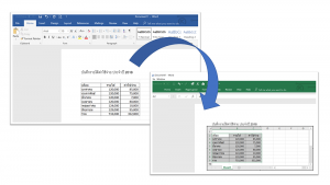 open Excel on Word