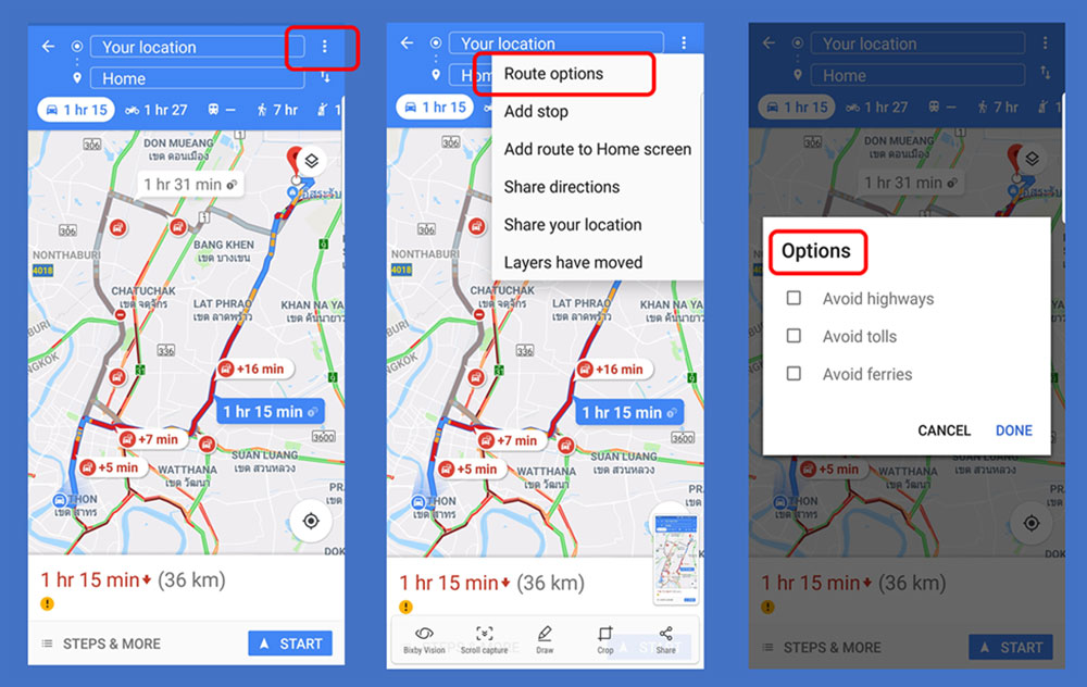 Google Maps Route Options