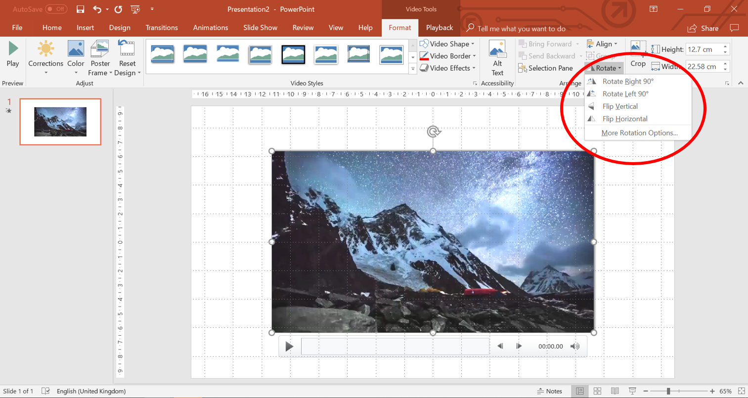 rotate video PowerPoint