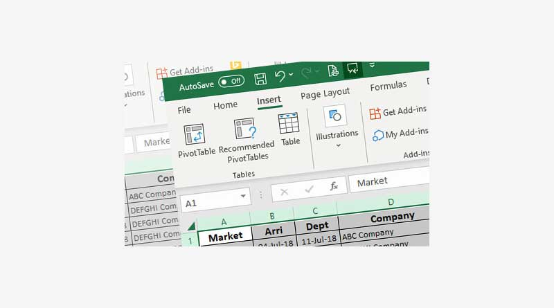 Insert Fields PivotTable